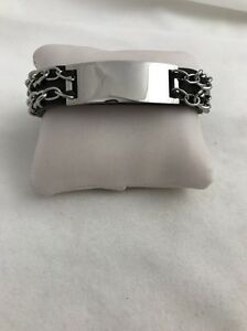 """Stainless Steel Black Leather Chain Link ID 1/2"""" x 8"""" Bracelet"""