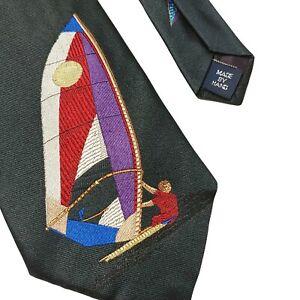 VTG Mens Handmade Polo Ralph Lauren 100% Silk Black Wind Sail Surfing Neck Tie