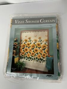 Vintage Vinyl Shower Curtain Bathroom Decor Sunflowers  NOS