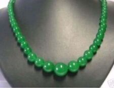 """Natural 6-14mm Green Jade Gems Round Beads Jewelry Necklaces 17"""" PN338"""
