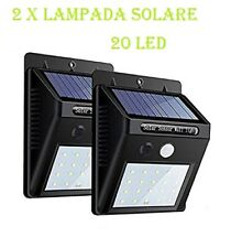 2x LAMPADA LUCE FARETTO ESTERNO ENERGIA SOLARE 20 LED SENSORE MOVIMENTO OSCURITà