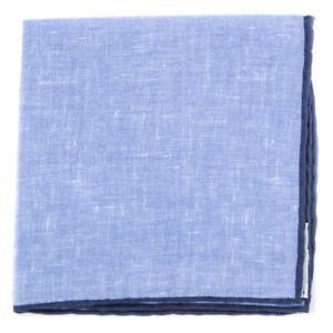 $100 Fiori Di Lusso Blue Solid Linen Pocket Square -  x  - (825)