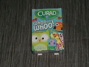 NEW, CURAD KIDS WHOOOO OWL Bandages 20 Assorted Sizes, Bandaids