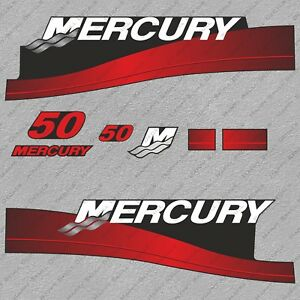 Mercury 50 hp Two Stroke outboard engine decals sticker set reproduction 50HP