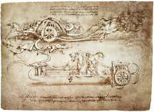 "Leonardo Da Vinci Chariot Painting Large 12.5"" x 17.2"" Real Canvas Art Print"