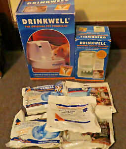 DRINKWELL PET FOUNTAIN + ADDITIONAL CAPACITY RESERVOIR + 5 PACKS EXTRA FILTERS