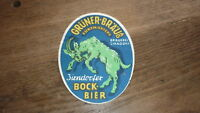 OLD 1950s GERMAN BIER BEER LABEL, GRUNER BREWERY BAYERN GERMANY, BOCK BIER 1