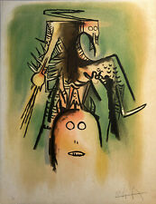 Wifredo LAM 1973 original hand signed lithography from Le regard vertical