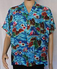 Island Fashions Hawaiian Shirt Blue with Sailboats and Leaves Aloha