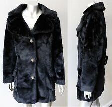 Mink Faux Fur Butterfly Collar Vintage 70s Retro Hippie Black Jacket Coat Sz M