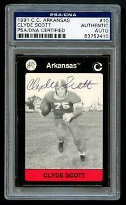 Clyde Scott #10 signed autograph Arkansas Collegiate Collection Card PSA Slabbed