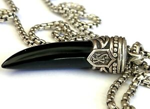 Scott Kay Sterling Silver Onyx Horn Necklace Chain Pendant Sterling Silver 925