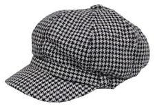 Cool4 Schwarz-Weiß Ballonmütze Hahnentritt Muster Bakerboy Cap Mütze WBC04