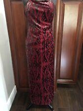 Betsey Johnson New York Velvet Maroon Burnout Silk Blend Dress Long Size Med