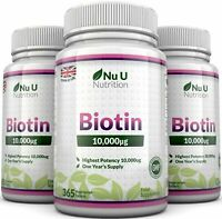 Biotin 10,000mcg 3 Bottles x 365 Tablets Supports Healthy Hair and Nails