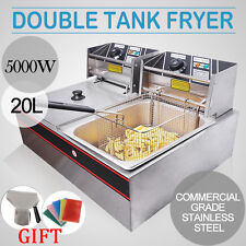 2x10L Stainless Steel Commercial Twin Double Tank Electric Deep Fat Fryer Basket