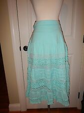 NEW Simply Noelle L XL 12 14 Aqua Lace Lined Fold-Over Waist Peasant Skirt NWT