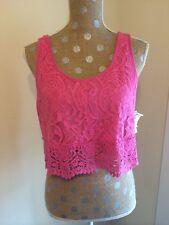 Nwt Womens Pink Self Esteem  Crotchet Crop Tank top Macys Sz L MSRP $29.00