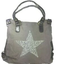 Handbag Ladies Large Shopper with Star Shoulder Bag Grey Bag