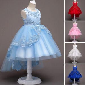 Flower Girls Kids Lace Pageant Dress Princess Birthday Bridesmaid Wedding Dress