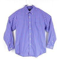 Brooks Brothers Mens sz M Blue Pink Plaid Button Down Long Sleeve Casual Shirt