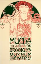 Rare Original Vintage Poster Mucha Exhibition Brooklyn 1920 by Alphonse Mucha