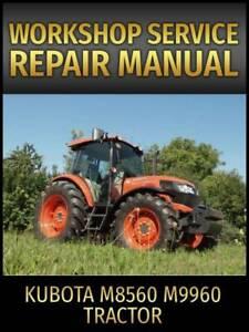 Kubota M8560 M9960 Tractor Service Repair Manual on CD