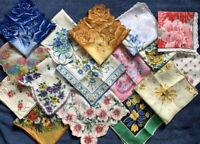 16 Ladies FLORAL Hankies Handkerchief Vintage Lot Roses Daisies