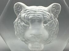 1980's KOSTA BODA  PAUL HOFF SIGNED INTAGLIO TIGER CRYSTAL PAPERWEIGHT
