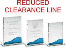 Clearance Glass Plaque - Blue GlassTrim  3 sizes - LOGO & TEXT ENGRAVED F.O.C.