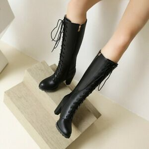 Womens Block Heel Lace Up Side zip Gothic Mid Calf Boots High  Punk Riding Shoes