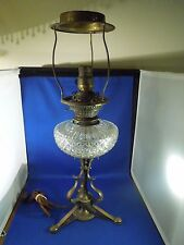 Antique Glass Table Lamp Dated July 6 1909 Electric Parlor Lamp No Shade