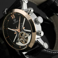 Mens Watch Automatic Mechanical Black Dial Stainless Steel Case Analog Display