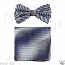 New In Box Men's Pre-tied Bow Tie And Hankie Set Stripes Formal Silver Gray