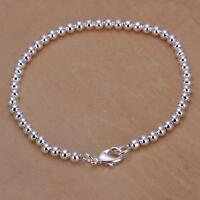 925 Sterling Silver New 4mm Small Beads Chain Bracelet For Unisex Man Women Gift