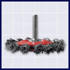 Drahtbürste Scheibenkopfbürste für Bohrmaschine Schaft 6 mm, gezopft Ø 85 mm