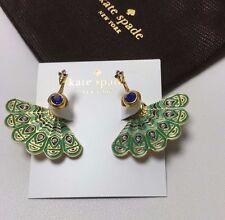 KATE SPADE 12K Gold Plated Full Plume Peacock Stud Earrings w/KS Dust Bag NEW