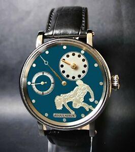 Erotic Regulateur Men's Gift Watch. Steel Case, Vintage High Grade Movement
