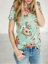 Fashion Womens Summer Short Sleeve Floral Shirt Blouse Casual Tops Loose T Shirt