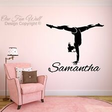 Personalized Name & Girl Gymnast Vinyl Wall Decal Sticker Décor Dance Gymnastics