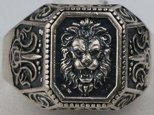 Ring Lion Sterling SILVER 925 Man's BIKER Gothik BRUTAL  ANYMAL 9.17g Size 12.5