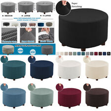 Stretch Round Ottoman Slipcover Jacquard Storage Footstool Sofa Protector Covers