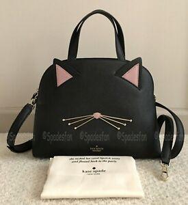 Kate Spade PXRU8519 Cat's Meow Cat Lottie LARGE Satchel Bag 2Way Purse BLACK NWT