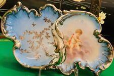 Sterling Silver Overlay Porcelain Handle Dish Cupid Celeste Meissen Style Basket