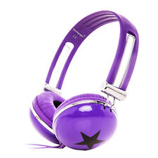 Adjustable Kids Childs Boys Girls Funky Star DJ Headphones DVD MP3 MP4 PC Purple