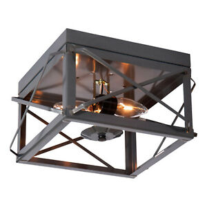 Irvin's Country Tinware Double Ceiling Light with Folded Bars in Country Tin