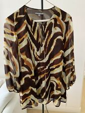 NWT $250 ANNE KLEIN NY Size S All Silk V Neck In Brown With Yellow And Beige