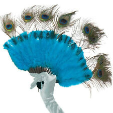Peacock Tail Feather Handheld Fan Costume Accessory