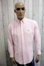 RALPH LAUREN Camicia Taglia XL Uomo Cotone Shirt Chemise Casual Manica Lunga