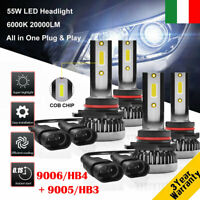 2 coppie 55W 9005/HB3&9006/HB4 20000LM Auto LED Fari Lampade Lampadine Kit 6000K